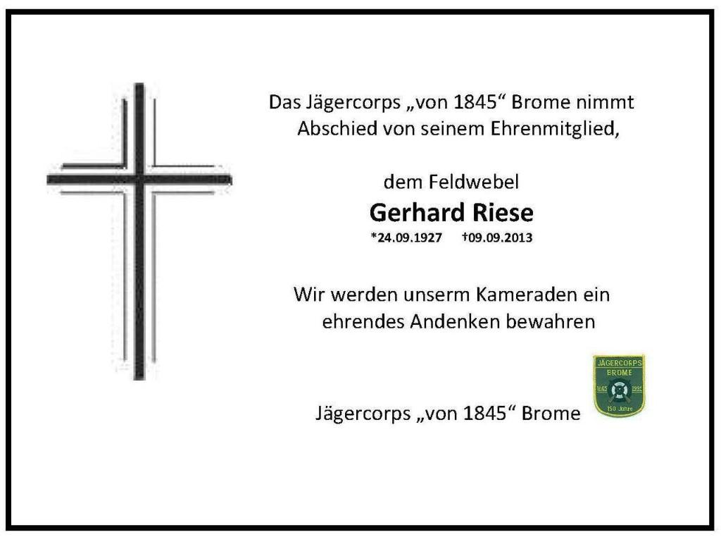 Trauer Gerhard Riese