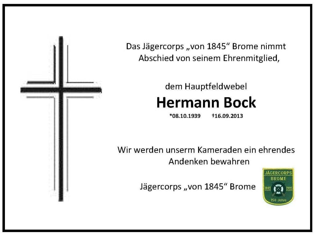 Trauer Hermann Bock