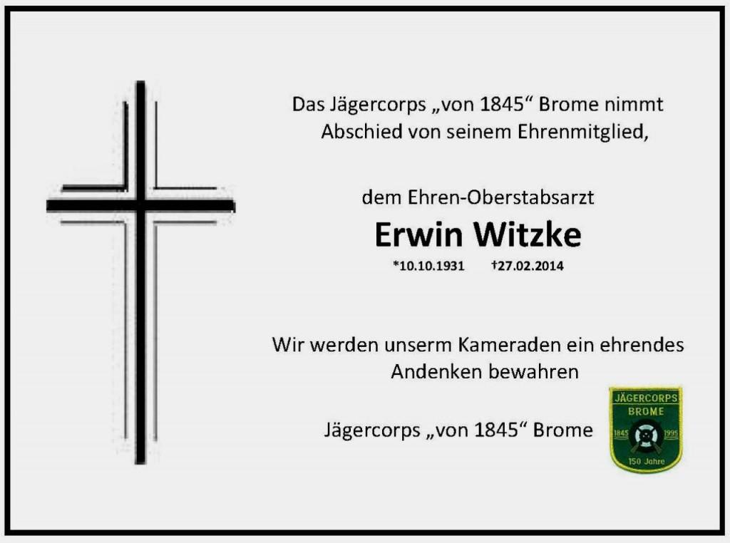 Trauer Erwin Witzke