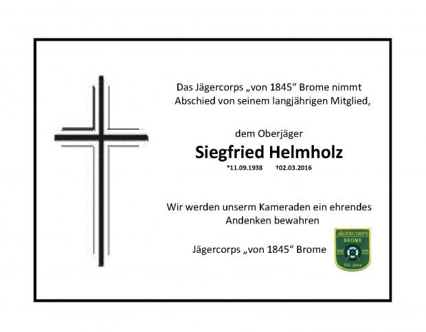 Trauer um Siegfried Helmholz